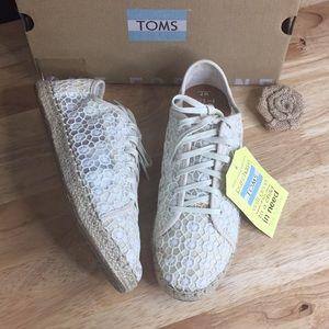 Toms Lena Espadrille Sneaker, Size 7 B - Beige